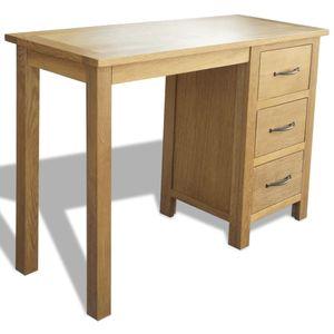Büroschreibtisch Bürotisch PC-Tisch Computertisch mit 3 Schubladen 106×40×75 cm Massivholz Eiche