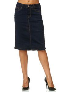 Damen Jeans Rock Knielang Stretch Ausgestellt Midi Skirt Übergröße Plus Size D2471, Farben:Dunkelblau, Größe:48