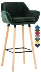 CLP Barhocker Grant Samt Gestell aus Buchenholz mit Fußstütze aus Metall, Farbe:grün