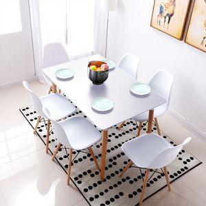 Esstisch mit 6 Esszimmerstühle Esszimmer Essgruppe 110x60x75cm Weiß für Esszimmer Essgruppe Kombipakete