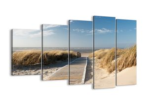 "Leinwandbild - 150x100 cm - ""Hinter der Düne, im Rascheln des Grases""- Wandbilder - Meer Strand Düne - Arttor - EG150x100-2657"