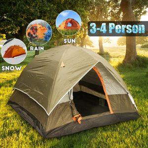 3-4 Personen Camping Zelt Doppelschicht Wasserdichte Outdoor Wandern Klappzelt Familienzelt
