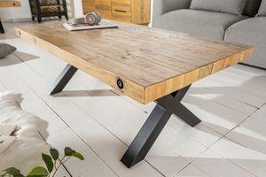 Massiver Couchtisch THOR 110cm natur Pinienholz Industrial Design X-Gestell Beistelltisch Wohnzimmertisch