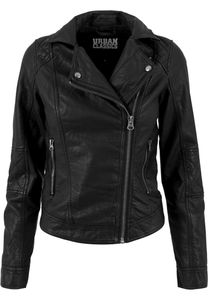 Urban Classics Damen Leichte Jacke Ladies Leather Imitation Biker Jacket Black-L
