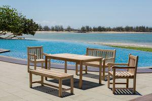 Möbilia Garten Sitzgruppe 5-tlg aus Teak-Holz   2 Armlehnstühle, 2 Bänke, 1 Tisch   B 0 x T 0 x H 0 cm   natur   11020021   Serie GARTEN