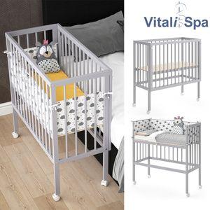 VITALISPA Beistellbett SOPHIE Grau Babybett Stillbett Stubenbett Nestchen Boxspring inklusive Nestchen und Matratze, 2 Seitenteile