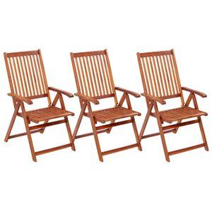 Gartenstühle Klappbare 3er Set Massivholz Akazie 57 x 111 x 69 cm
