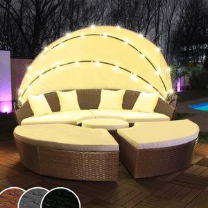 LED - Sonneninsel Rattan Lounge Gartenliege Polyrattan Sitzgruppe Liege Insel 180cm inklusive Abdeckcover