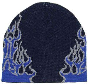 Blau Schwarzer Winter Beanie mit Flammen