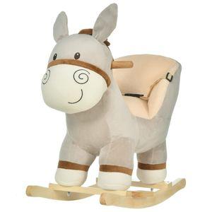 HOMCOM Kinder Schaukelpferd Baby Schaukeltier Esel mit Eselruf Spielzeug Haltegriffe für 18-36 Monate Plüsch Grau 61 x 34 x 58 cm