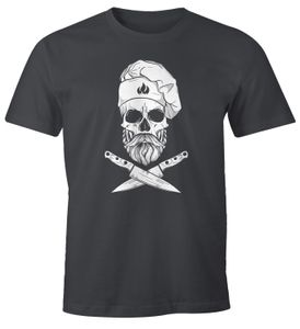 Herren T-Shirt Grillen Koch Totenkopf Messer Hipster Skull Chef Grill-Shirt Moonworks® dunkelgrau L