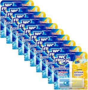 WC FRISCH Duo-Duftspüler 10er Pack Lemon WC Reiniger & WC-Duftstein 10x1 Stück