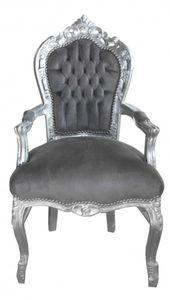 Casa Padrino Barock Esszimmer Stuhl mit Armlehnen Grau / Silber - Möbel Antik Stil
