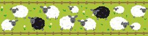 Lovely Kids selbstklebende Kinderzimmer Bordüre Sheep Family grün schwarz weiß braun 5,00 m x 0,155 m
