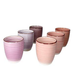 6er Set Lila Baita Kaffeebecher Violett 350ml ohne Henkel Trinkbecher Tasse Pott