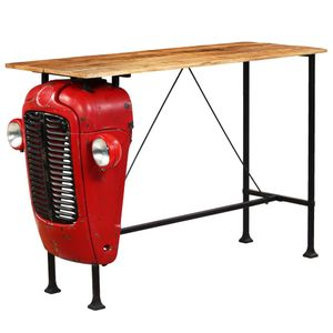 Bartisch Traktor Mangoholz Massiv Rot 60 x 150 x 107 cm