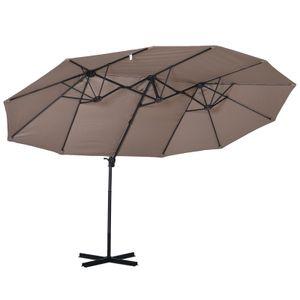 Outsunny Sonnenschirm mit Kurbel, Doppelschirm, Verstellbarer Gartenschirm, Sonnenschutz, Metall, Braun, 460 x 270 x 250 cm