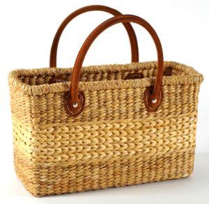 Tasche Korbtasche aus Wasserhyazinthe - Lederhenkel - 38x16x24 cm