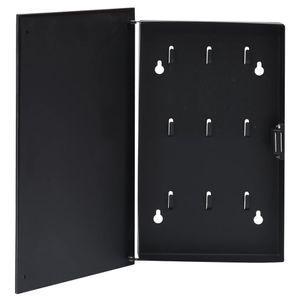 vidaXL Schlüsselkasten mit Magnettafel Schwarz 30x20x5,5 cm