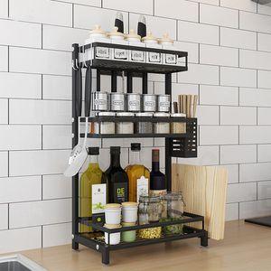 Gewürzregal Küchenregal Küchenarbeitsplatte Organizer Gewürz-Ständer 3 Ebenen 34x2x61cm