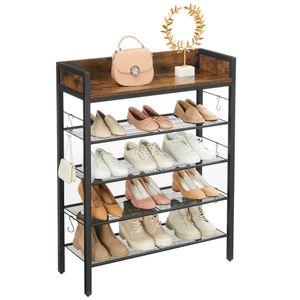 VASAGLE Schuhregal, 4 Gitterablagen, für 14 Paar Schuhe,  80 x 30 x 100 cm, erhöhte Seitenkanten, Industriestil, vintagebrauen-schwarz LBS022B01