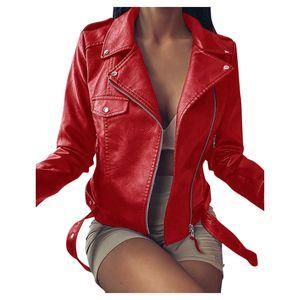 Frauen Coole Kunstlederjacke Langarm-Reißverschluss Fitted Coat Fall Short Jacket Größe:XXXL,Farbe:Rot