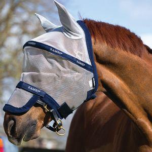 Horseware Rambo Plus Fly Mask Untreated - Silver, Größe:L