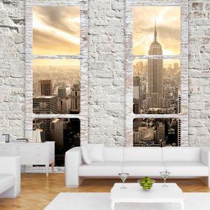 Vlies Tapete ! Top ! Fototapete ! Wandbilder XXL ! 350x256 cm FENSTER NEW YORK NYC STADT c-A-0066-a-b