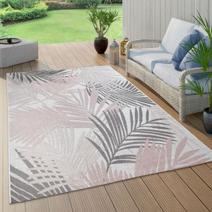 In- & Outdoor-Teppich Für Balkon Und Terrasse, Mit Palmen-Muster, In Rosa, Grösse:120x160 cm