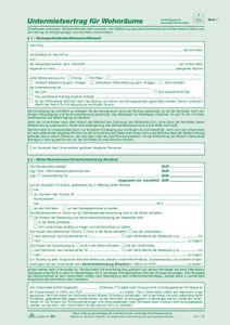 Untermietvertrag für Wohnräume - SD, 2 x 2 Blatt, DIN A4, + Wohnungsgeberbescheinigung   Verkaufsmenge:  25 Stück