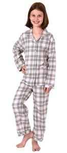 Mädchen Flanell Pyjama langarm Schlafanzug kariert mit Knopfleiste - 291 401 15 556, Farbe:rosa, Größe:152