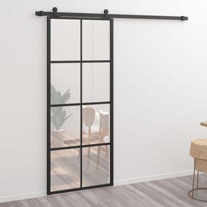 Schiebetür Aluminium und ESG-Glas 76 x 205 cm Schwarz