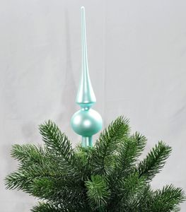 Christbaumspitze Glas 26 x 6 cm Glanz oder Matt Weihnachtsbaum Spitze, Farbe:Eisblau