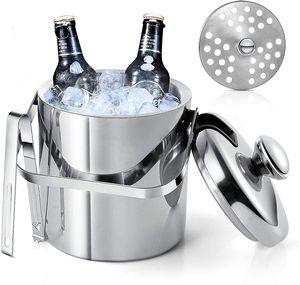 Eiseimer mit Deckel, Doppelwandiger Eisbehälter mit Deckel Edelstahl, 1.3 Liter Isolierter Eiseimer für Besonders Lange Kühlung