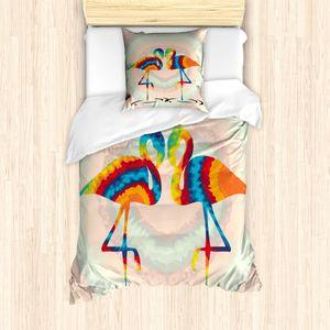 ABAKUHAUS Flamingo Bettbezug Set für Einzelbetten, Retro Valentinsgruß Vögel, Milbensicher Allergiker geeignet mit Kissenbezug, Mehrfarbig