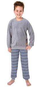 Toller Jungen Frottee Pyjama langarm mit Bündchen und cooler Stickerei - 291 501 13 577, Farbe:grau, Größe:146/152