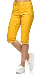 Damen Capri Jeans 3/4 Stretch Bermuda Shorts Big Size Hose, Farben:Senfgelb, Größe:42