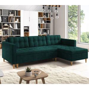 Selsey Ecksofa KOPENHAGA - Sofa mit Schlaffunktion, Holzbeinen und Stoffbezug in Dunkelgrün, 221 cm breit
