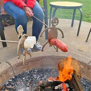 4er-Set Grillständer Stahlgrill Grill Wurst Halter Hot Dogs mit 4 Grillspieß