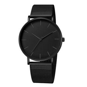 Herren Mode Business Quarz Uhr Mesh Band 4cm Analog Armbanduhr Schmuck Geschenk kausal Einfarbig Solide Schwarzes Band Schwarzer Zeiger