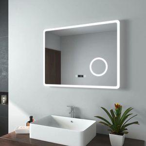EMKE LED Badspiegel 80x60cm Badezimmerspiegel mit Beleuchtung Kaltweiß Lichtspiegel Wandspiegel mit Touch-Schalter + Beschlagfrei + Uhr + 3-Fach Vergrößerung Schminkspiegel IP44 Energiesparend