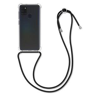 kwmobile Schutzhülle kompatibel mit Samsung Galaxy A21s - Hülle mit Kordel zum Umhängen - Silikon Handy Case Schwarz Transparent