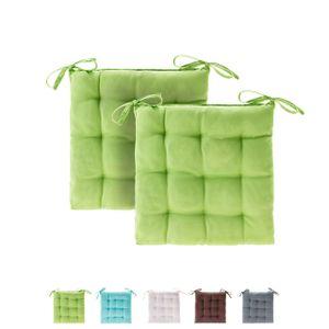 etérea Basic Sitzkissen  Stuhlkissen mit Bändern - für Innen- und Außenbereich geeignet  Sitzpolster Auflage für Haus und Garten - 2er Set - 40x40 cm  Apfelgrün