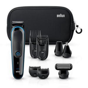 Braun Multigrooming-Set MGK3980 – 9-in-1 Trimmer für Bart- und Haarstyling. Mit Neopren Kulturtasche & Gillette Fusion ProGlide Rasierer, schwarz/blau