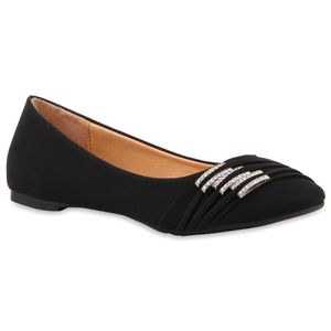 Mytrendshoe Klassische Damen Ballerinas Strass Flats Modische Schuhe 810453, Farbe: Schwarz, Größe: 36