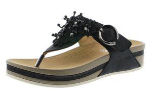 rieker Damen Zehentrenner Schwarz Schuhe, Größe:40