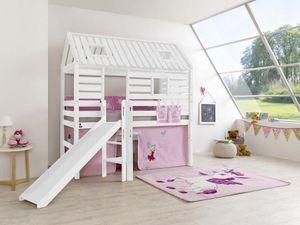 Hochbett Tom´s Hütte 1 Kinderbett mit Rutsche Weiß Stoff Prinzessin, Matratze:mit