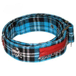 Blauer Schotten Punk Nieten Gürtel 100cm