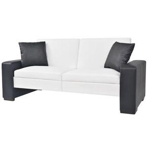 Schlafsofa Sofabett Schlafcouch mit Armlehnen PVC Weiß Verstellbar 175,5 x 81,5 x 81 cm