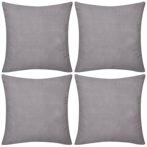 vidaXL 4 graue Kissenbezüge Baumwolle 80 x 80 cm